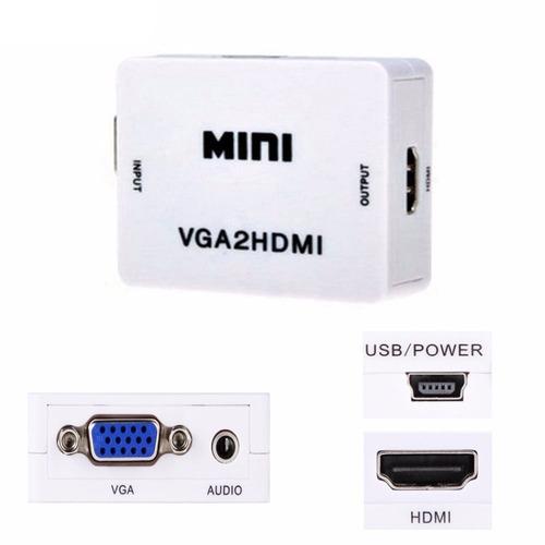 Imagen 1 de 5 de Convertidor / Adaptador Vga A Hdmi + Audio - Pc Y Portátiles