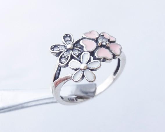 Anel Prata Maciça 925 Flores Feminino Zircônias Cravejadas