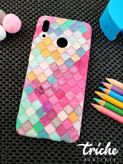 Funda Case Mosaico Colores Sirena Dama Huawei P Smart 2019