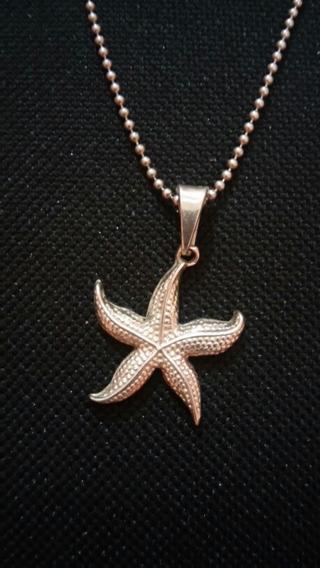 Estrella De Mar Dije De Plata .925 Cadenita De Plata