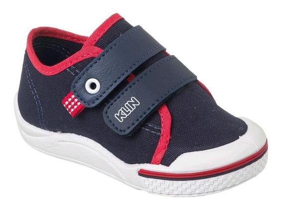 Tênis Klin Toy Infantil Bebê Menino Marinho Vermelho Velcro