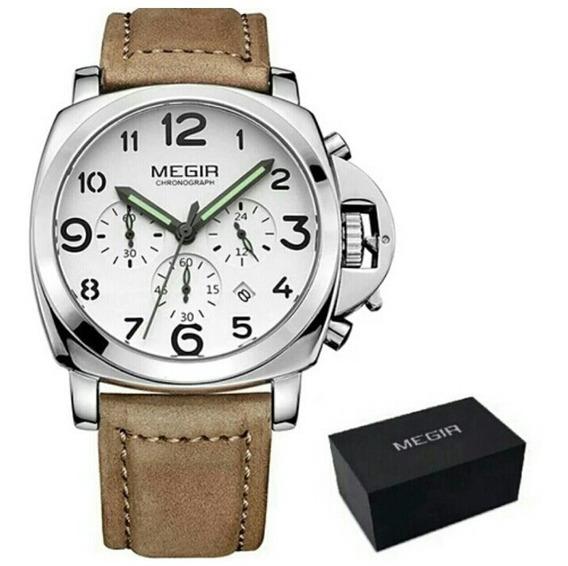 Relógio Megir 3406 Masculino Luxo Pulseira Couro Envio Grats