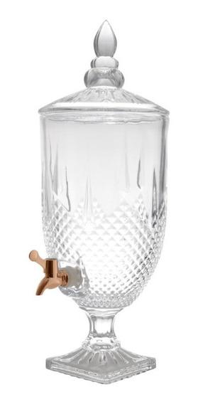 Dispenser Suqueira De Cristal C/torneira Cobre Diamante 5l