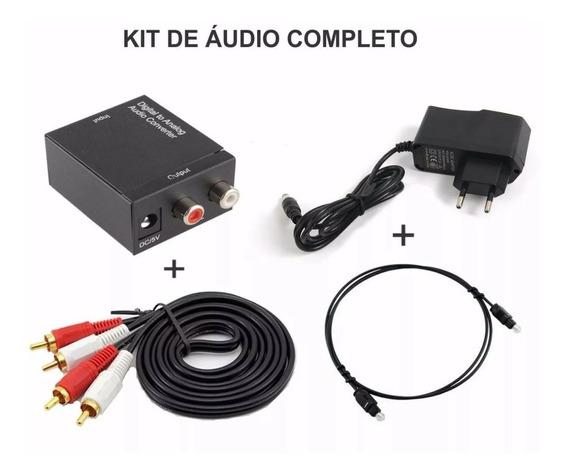 Adaptador Conversor Óptico P/ Rca + Cabo Otico + Cabo 2 Rca