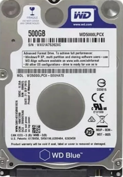 Hd 500gb Wd Notebook 2,5 5400rpm Western Digital