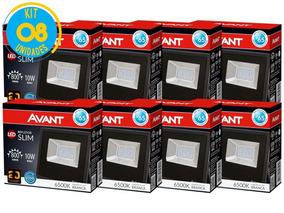Kit Refletor Led 10w Branco Holofote Bivolt 8 Unidades Avant