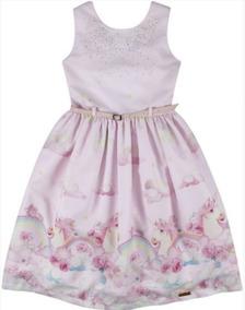 Vestido Festa Infantil Unicórnio Com Cinto N181