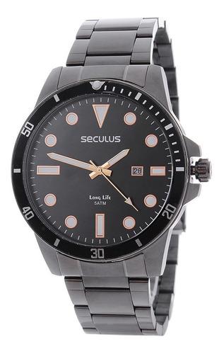 Relógio Seculus Long Life 5 Atm Preto Masculino 24980