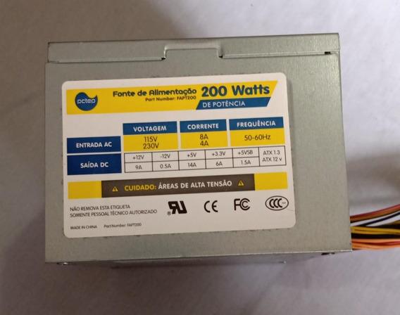Fonte Atx Sata Pctop 200w Model Fapt200 Usada Ref:ac192