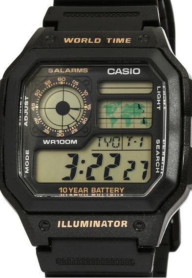 Relogio Casio Ae 1200w Borracha Mapa Crono Alarm Nf Ae1200