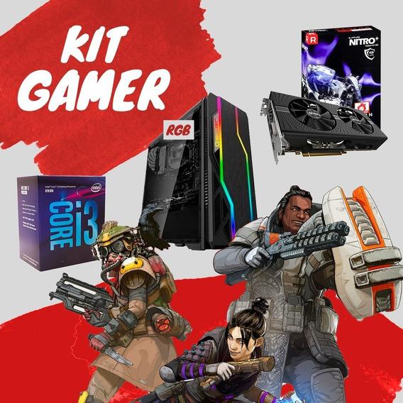 Kit Gamer Intel I3 8100+ Rx 580+gabinete Rgb +8gb Vulcan Mhz