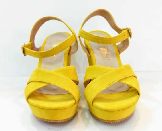 Zapatos Tacón Corrido Amarillo Moda Dama Casual