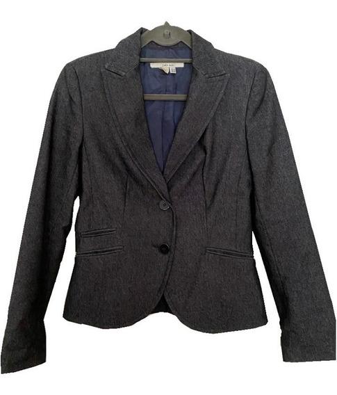 Saco Blazer De Jean Forrado Entallado Mujer Marca Conocida