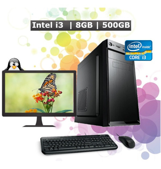 Pc Computador Desktop Core I3 8gb Hd 500gb Monitor 17 + Kit
