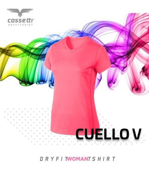 Playera Cuello V Cossetti Corta Dry Fit Colores Neón Xl 2xl