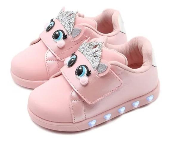 Tênis Infantil Pampili Sneaker Luz Princess Dot Rosa Glace