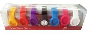 10x Relógio Troca Pulseira Unissex 7 De Silicone Coloridas