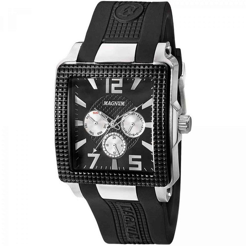 Relógio Magnum Masculino Quadrado Silicone Preto Ma31882t Nf