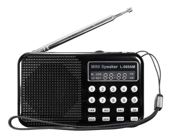 Rádio Portátil Display Digital Am/fm Recarregável Sd Usb
