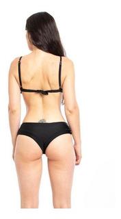 Bikini Calzón Tanga Tiro Alto Color Negro