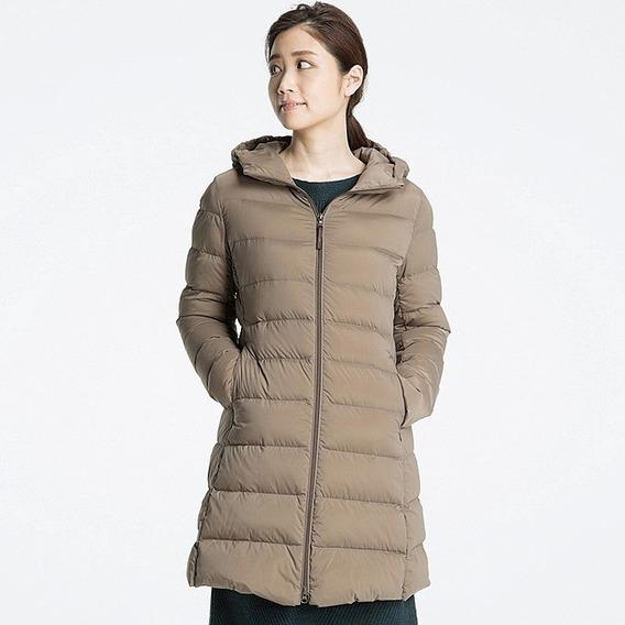 Uniqlo Ultra Light Down Stretch Hooded Coat Beige Xl Nuevo