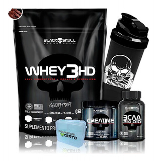 Whey 3 Hd + Bcaa 2400 + Creatina + Brindes - Black Skull