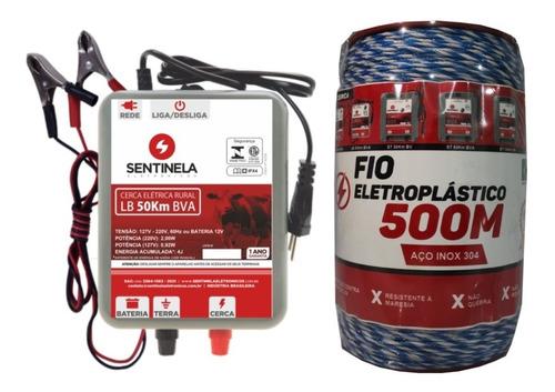Imagem 1 de 2 de Kit Cerca Elétrica Rural Eletrificador Lb 50km + Cabo 500m