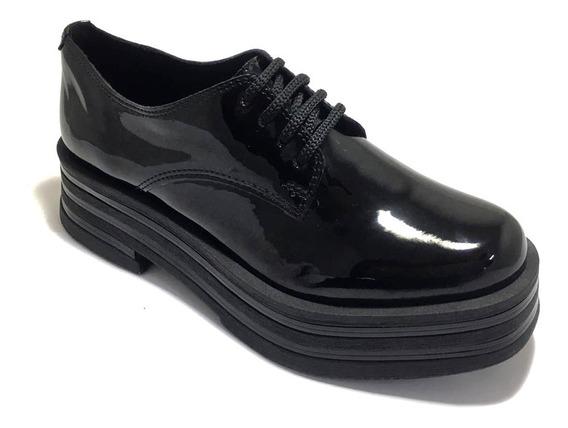 Zapato De Mujer Acordonado Charol Taco Medio (sv/zr50)