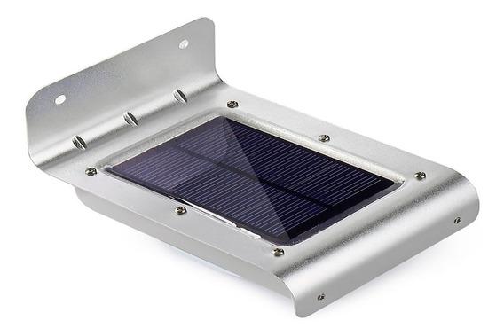 Luminária Parede Solar 16 Led Jardim Piscina Sensor Presença