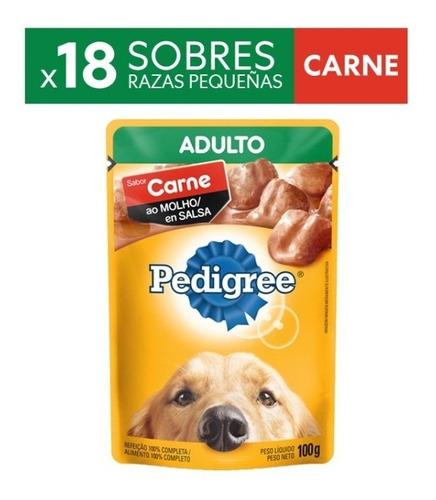 Alimento Perro Pedigree Sobres Adulto Carne X100gr(pakx18un)