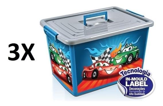 Kit 3 Baú Caixa Organizadora Container Infantil Com Rodinhas