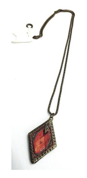 Colar Feminino Longo Vintage Geométrico Ouro Velho