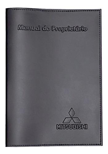 Capa Porta Manual Proprietário Mitsubishi Couro Eco