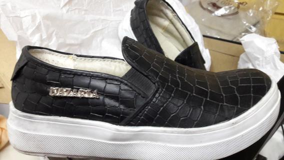 Zapatillas Alpargatas Negras Ecocuer Cocodrilo 35 Avellaneda
