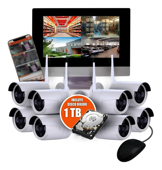 Kit Seguridad 8 Camaras Wifi Inalambrico Nvr Monitor Disco 1