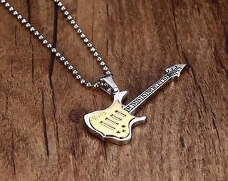 Colar Do Músico Rock Story Corrente + Pingente De Guitarra!