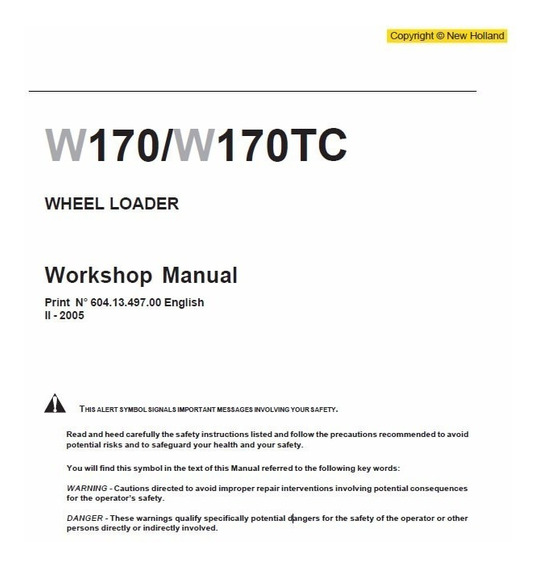 Manual De Serviço - New Holland - W170 - W170tc