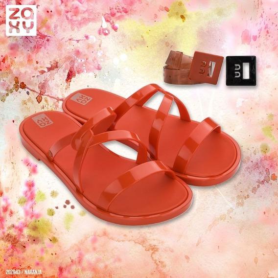 Sandalias Mujer Goma Zaxy Slide Hit + Cinturón Importadas