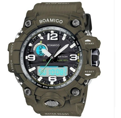 Relógio Verde Masculino Militar Analog. Digit Boamigo Barato
