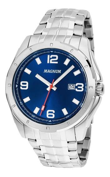 Relógio Magnum Sports Ma32809f Masculino Prata E Fundo Azul