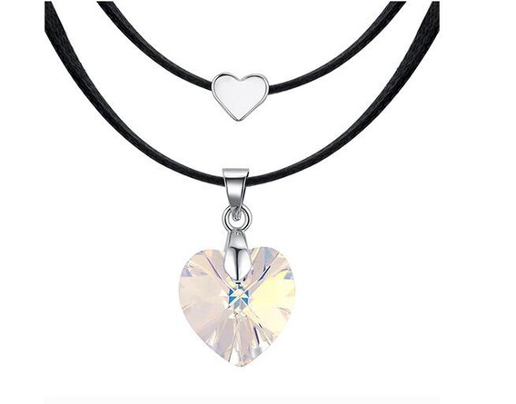Collar Con Cristales, Amor De Cristal Ac18-166-oro Blanco