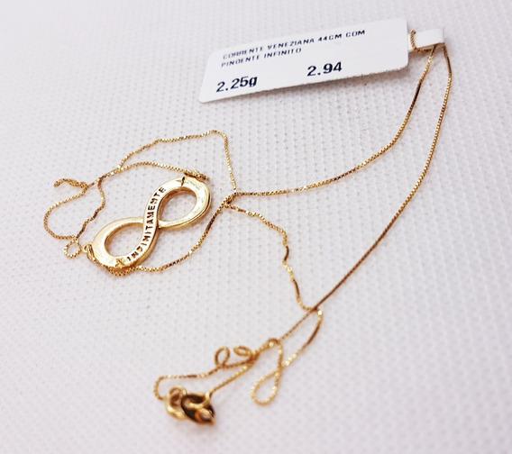 Corrente Veneziana Ouro 18k Com Pingente Infinito 2,25g 44cm