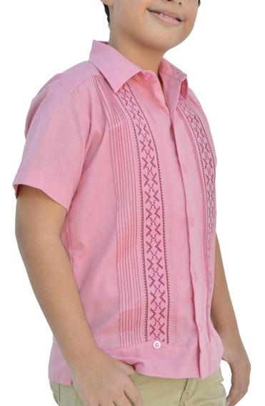 Camisa Guayabera Yucateca Casual Lino Niño Corta _cfkalx1114