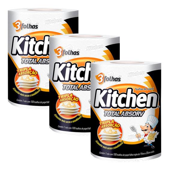 Kit 3 Pacotes Papel Toalha Folha Tripla Kitchen - 300 Folhas