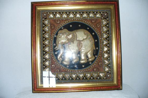 Cuadro Elefante Hindu Único , Hermoso Trabajo Relieve