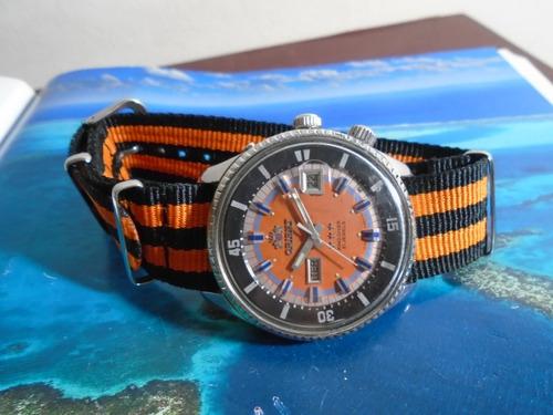 Orient King Diver  Antigo Cal 1942 2 Janelas Orange   Raro