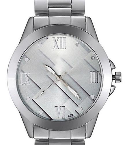 Relógio De Pulso Mostrador Geométrico Pulseira Em Aço R.279