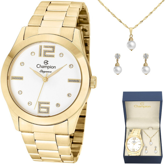 Relógio Feminino Champion Dourado Com Strass Kit Cn26555w