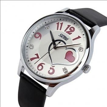 Relógio Feminino Coração Skmei Analógico 9085 Preto