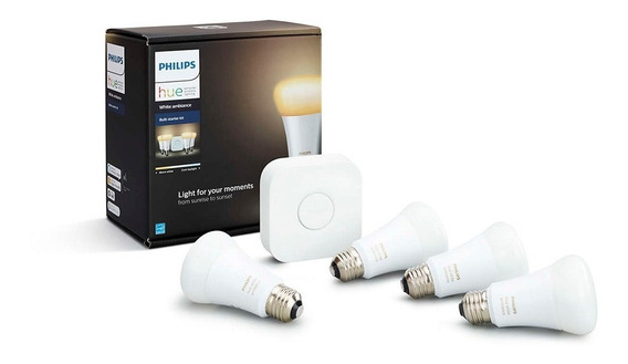 Philips Hue Led 4 Lámparas Blanco Ambiance 10w A19 E2+bridge